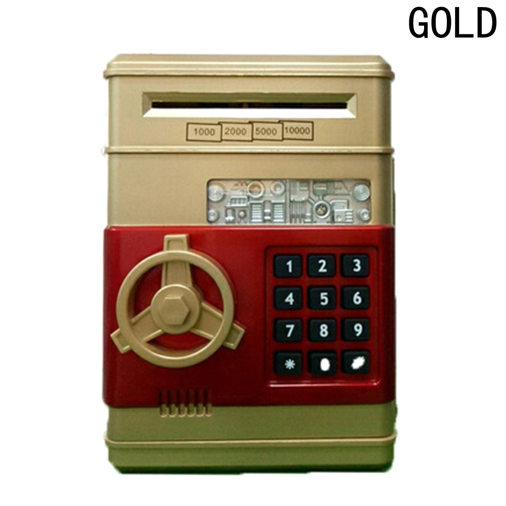 Password Mini Piggy Bank Cash Coins Money Bill Safe Box Lock Sound Battery Power Panda save money cans