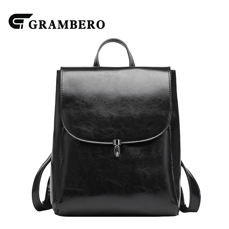 Fashion Real Genuine Leather Women Backpack Solid Color Hasp Zipper Oil Wax Leather Large Capacity Cowhide Bag Sent Friends Bags 2018 new style soft genuine leather zipper backpack black color cow leather women fashion bag for party sent friends school bags