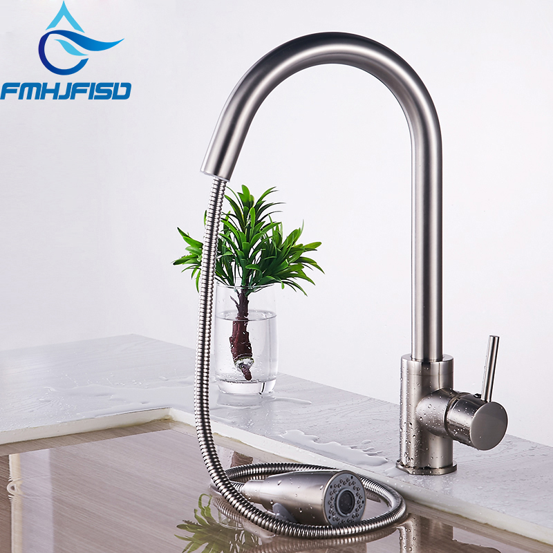 Kitchen Faucet Chrome Brass Vessel Sink Mixer Tap Dual Sprayer Swivel Spout Hot And Cold Mixer