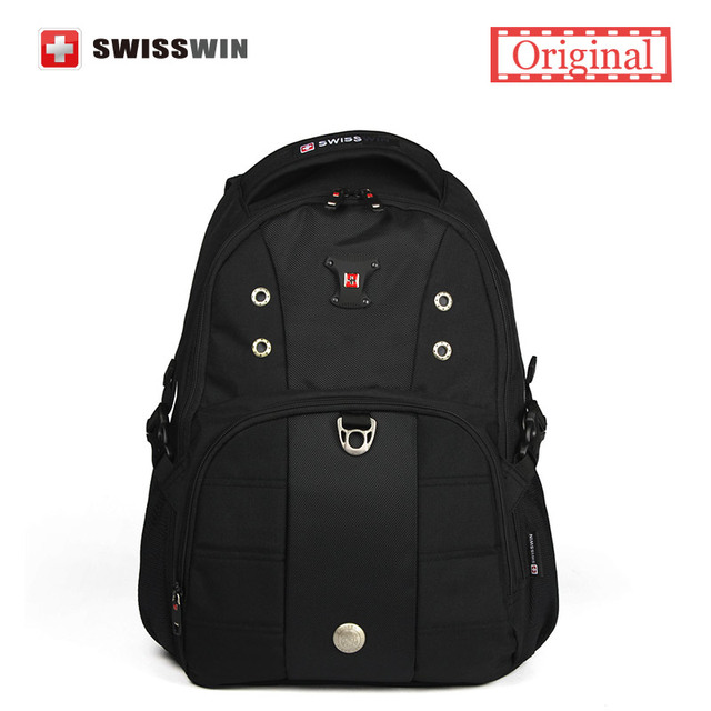 Swisswin Classic Men's Backpack Bag Waterproof Laptop Backpack for Teenage Boys A4 School backpack Men Black Book Bag To School