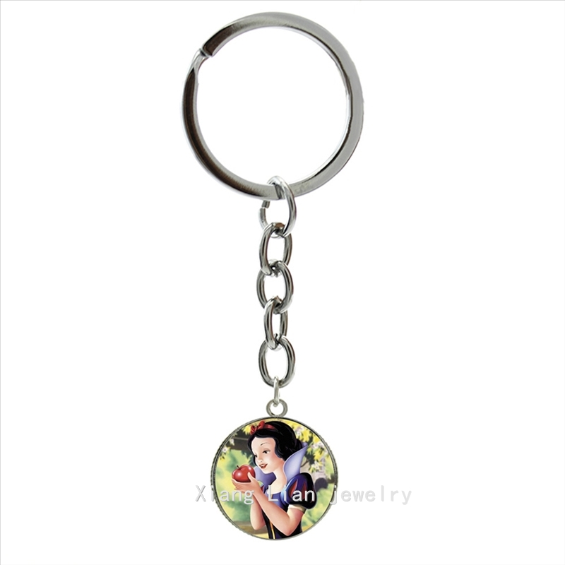 The famous Fairy Tales character keychain Snow White Princess Picture pendant silver plated girls birthday gift jewelry