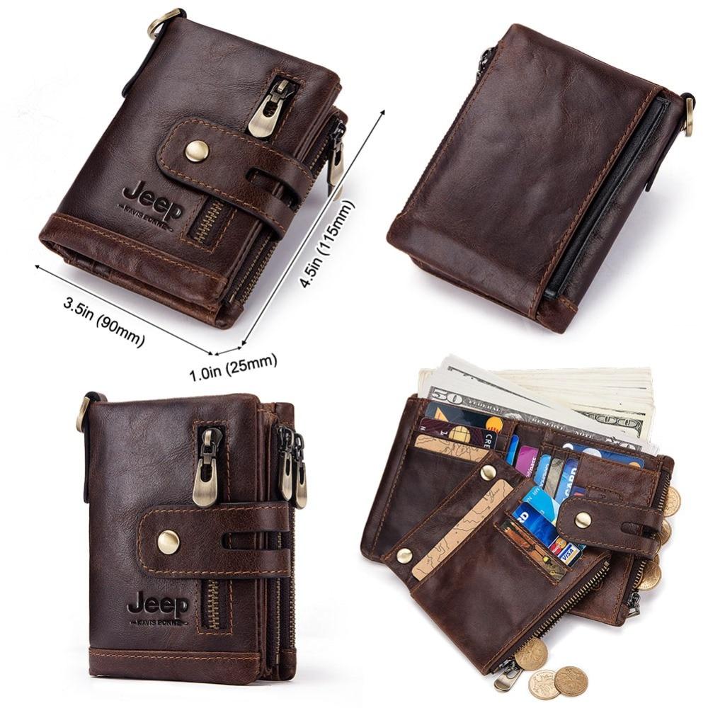 Free Engraving 100% Genuine Leather Men Wallet Coin Purse Small Mini Card Holder Chain PORTFOLIO Portomonee Male Walet Pocket 3