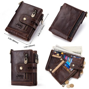 Image 3 - Free Engraving 100% Genuine Leather Men Wallet Coin Purse Small Mini Card Holder Chain PORTFOLIO Portomonee Male Walet Pocket