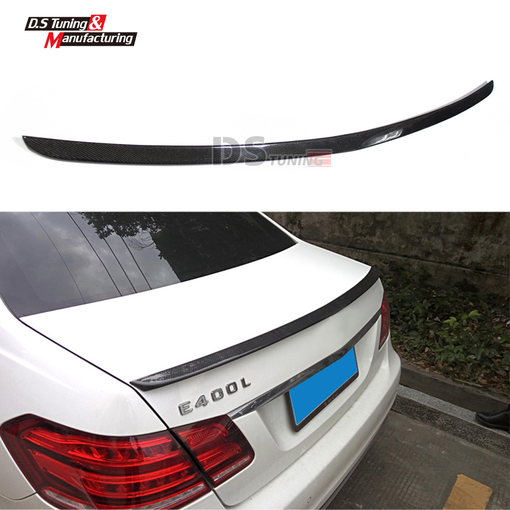 Mercedes W212 Car Styling Carbon Fiber Replacement Spoiler For Benz E Class W212 AMG Style 2010+ Rear Trunk Tail Spoiler Wing hot car abs chrome carbon fiber rear door wing tail spoiler frame plate trim for honda civic 10th sedan 2016 2017 2018 1pcs