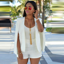 Summer Casual Jackets HOT Women White and Black Sleeveless Split Loose Solid Jacket Outwear Size S-XL