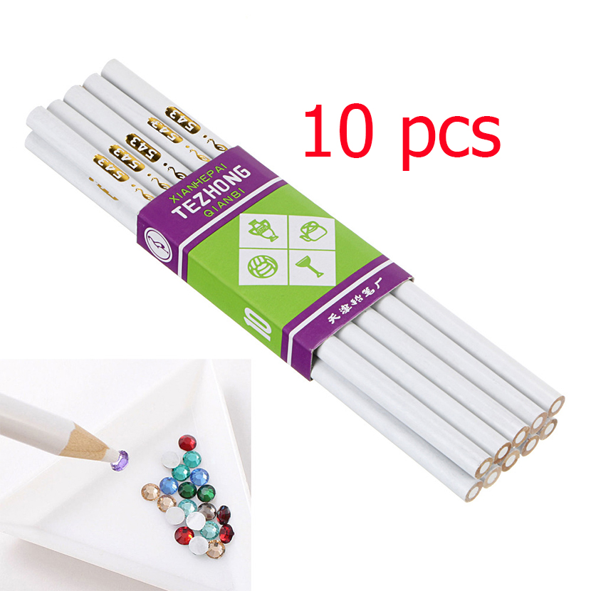 10Pcs/lot Top Professional Wooden Dotting Pencils Wooden Point Pen Wax Picker Pencil for Nail Art Rhinestones Bead Pickup Pens bamboo pattern wooden small gadgets pencils rulers pens holder