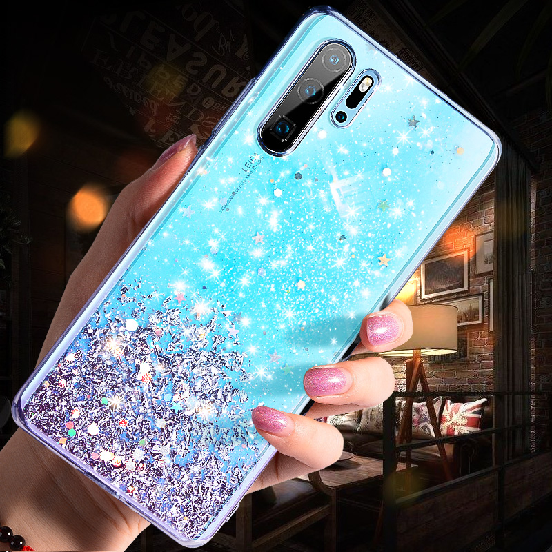 Glitter Bling Crystal Sequins Case for Huawei P20 P30 Pro Silicone Soft TPU Cover for Huawei P20 lite P30 Transparent Phone Case