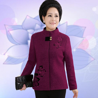 Woman Spring Autumn Plus Size Mandarin Collar Embroidery Full Cashmere Overcoat Female Winter Solid Warm Cardigan