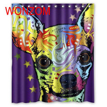 WONZOM Modern Painted Animal Bath Waterproof Curtain 3D Polyester Shower with 12 Hooks For Mildewproof Bathroom Decor