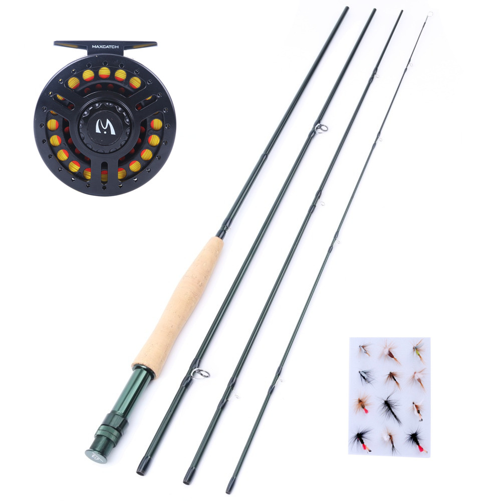 Maximumcatch Fly Fishing Combo 9'5WT Fly Fishing Rod with 5/6WT Graphite Reel +  Line + Flies цена и фото