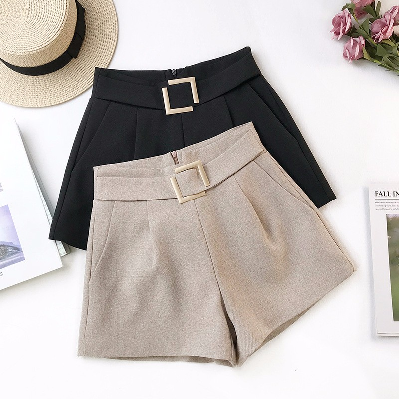 DeRuiLa Dy Summer Casual Women Temperament Style Ladies Loose Whorts 2019 Office Lady Cylinder Solid Color High Waist   Shorts