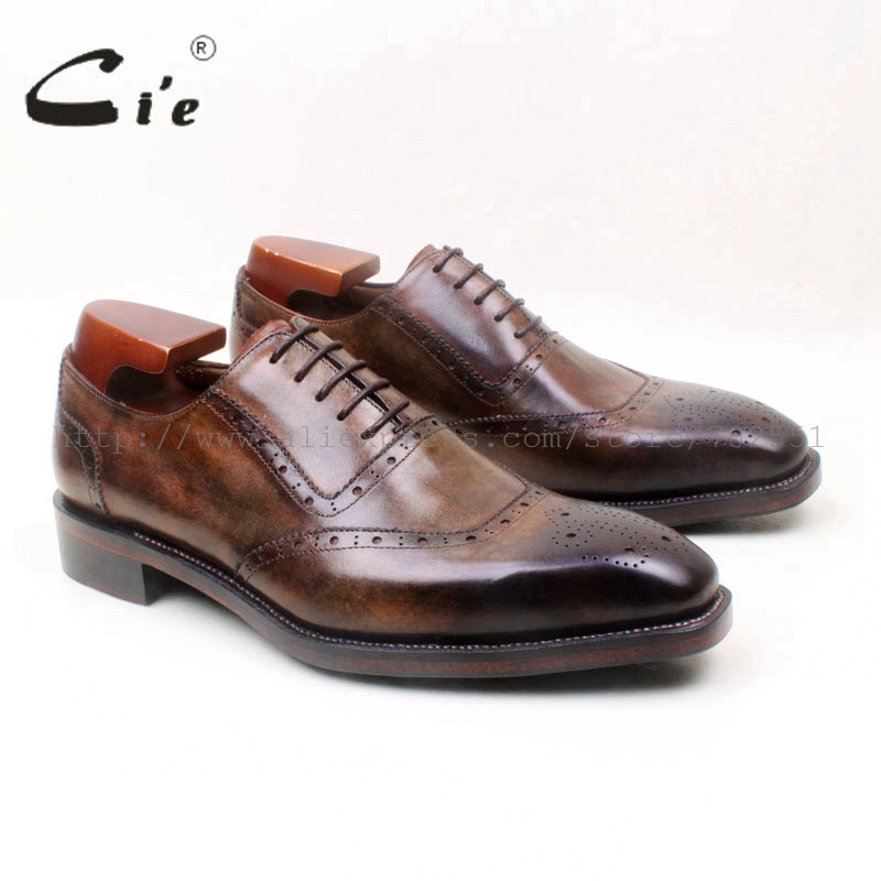 cie håndmalt brun patina skreddersydd håndlaget fullkornskalvlær arbeidsklær menn kjole / klassisk lacing brogue oxford sko No.OX669