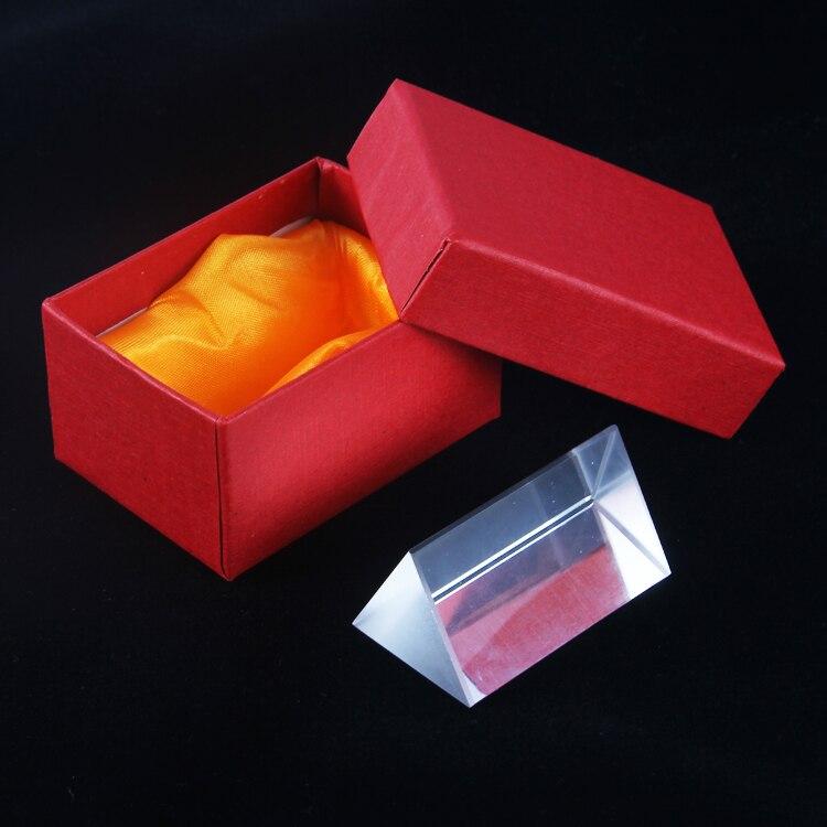 (5*3 cm) Arco Iris vidrio óptico que refleja prisma Triangular física enseñanza luz espectro color Triple prisma con caja de regalo H & D 30mm ventana de vidrio colgante atrapasoles ornamento máquina de arcoíris bola de cristal prismas colgante hogar jardín decoración coche encanto regalo
