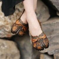 2017 Spring Womens Flats Camel Handmade Women Leather Shoes Retro Ladies Ballat Flats Genuine Leather Soft