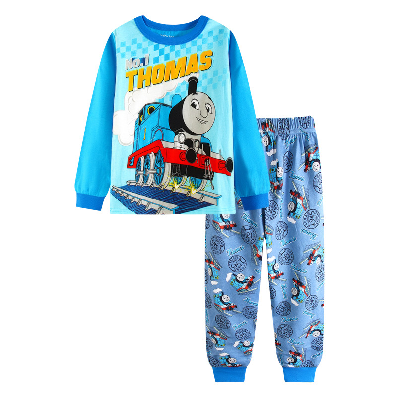 Cotton Spring Thomas Train Children Clothes Set Long Sleeve Sleepwear Pajamas Boy Sports Suit Blue Tracksuit For 2T-7T Kids 2017 new boys clothing set camouflage 3 9t boy sports suits kids clothes suit cotton boys tracksuit teenage costume long sleeve