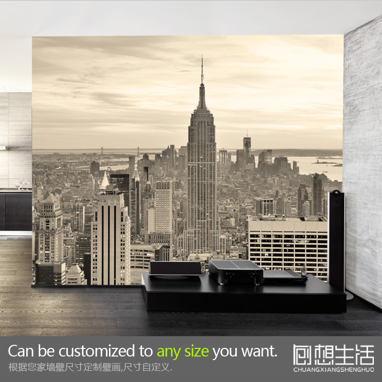 buy new york diwang mansion landscape mural wallpaper 3d bedroom living room tv. Black Bedroom Furniture Sets. Home Design Ideas