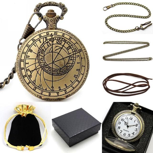 Bronze Pattern Compass Quartz Pocket Watch Metal Necklace Leather Chain Box Bag