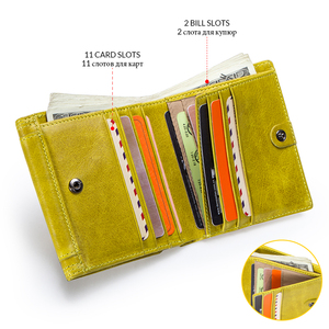 Image 4 - Свяжитесь с натуральная модный кожаный бумажник Женские портмоне маленький мешок денег кредитные карты держатель кошельки для женщин portfel damski