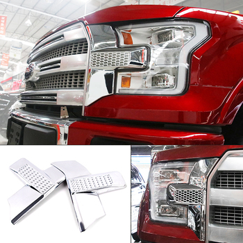 For Ford F150 F-150 2015-2016 ABS Glossy Exterior Front Headlight Cover Trim 2pcs Car Styling