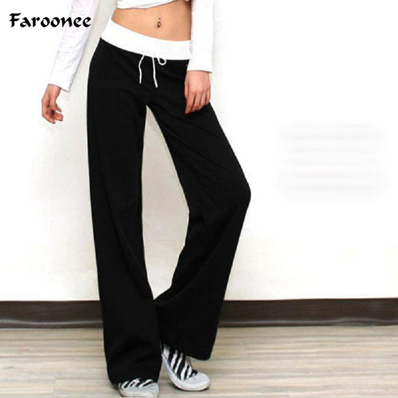 Candy Colors Casual Female Solid Loose Straight   Pants     Wide     Leg     Pants   for Women Elastic Waist Loose Home Indoor Straight Trousers