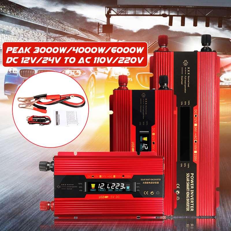 Onduleur solaire 12 V/24 V 220V 6000W P eak Onduleur Convertisseur De Tension Transformateur DC 12 V/24 V À AC 220V Inverseur D'affichage À CRISTAUX LIQUIDES