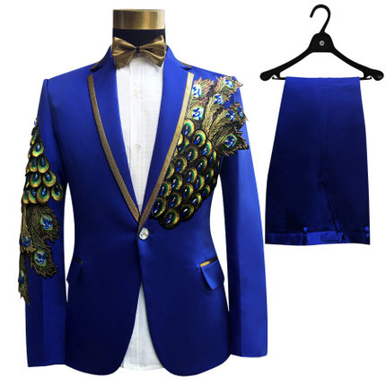 Freeship 100 real font b mens b font royal blue red peacock embroidery beading tuxedo suit