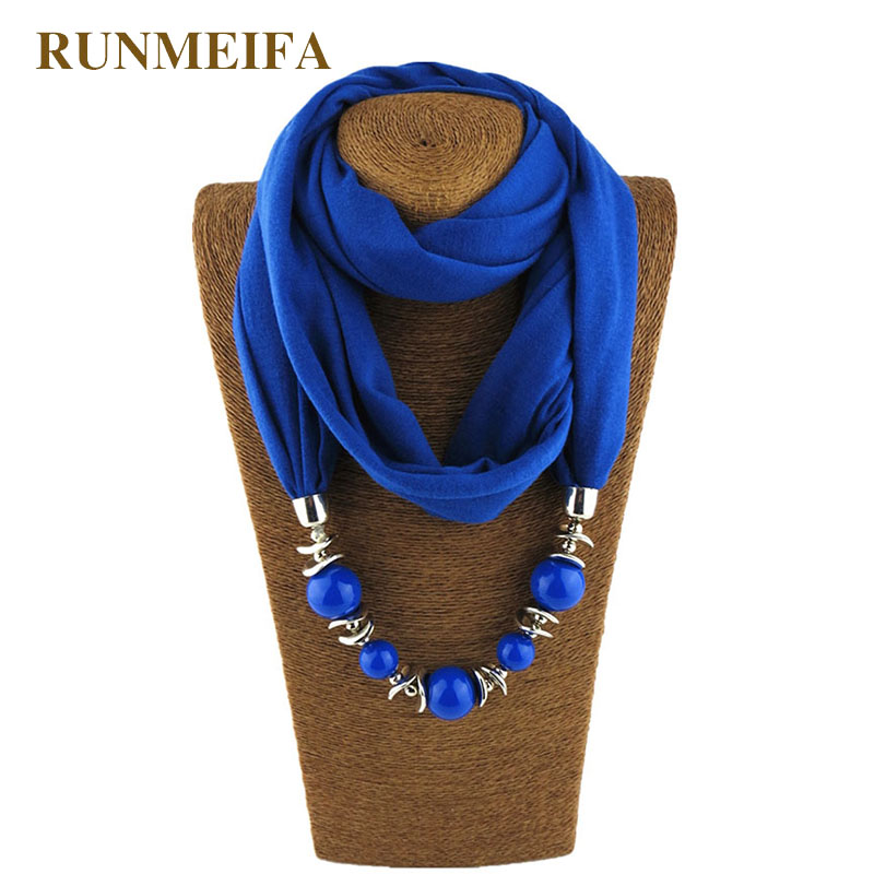 RUNMEIFA Charms Jewelry Pendant Scarf Solid Color Cotton Ress