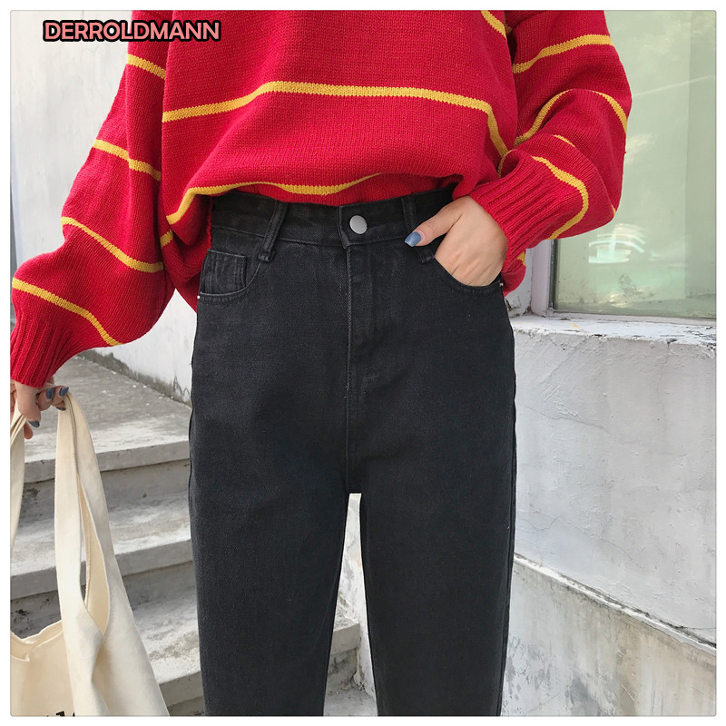 Summer High Waist Jeans Woman Straight Pants With Pockets Button Zipper Cotton Denim Women