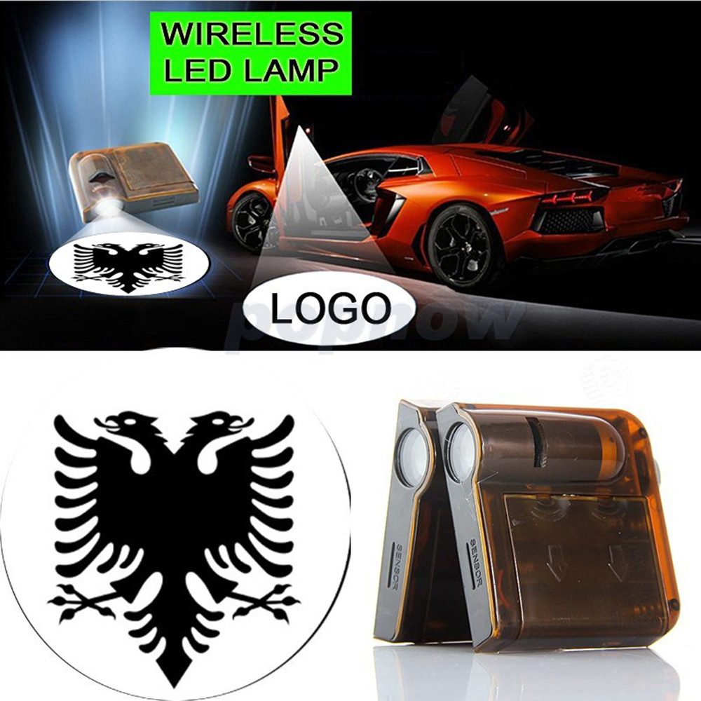 2pcs Flag Of Albania Double Heads Bird Symbol Logo Car Door Wireless Welcome LED Light Projector Ghost Shadow Light #3585 2 pcs fc barcelona wireless led car door projectors