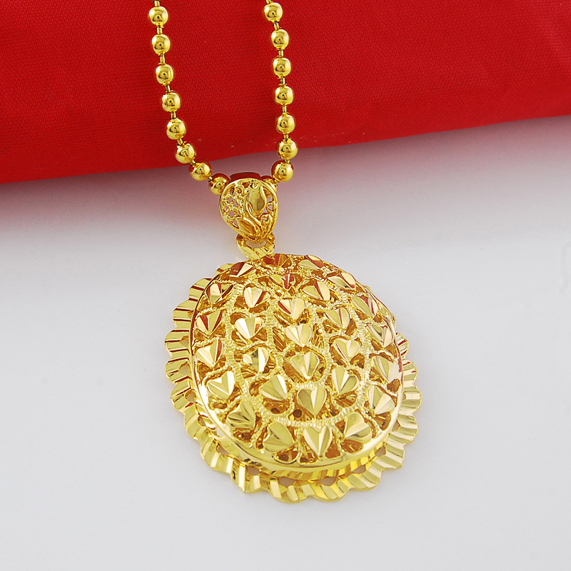 2016 Unique Design Round Shape Heart Pattern Pendant 24K Gold ...