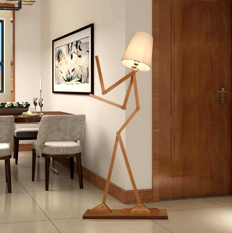 Nordic Wood Artist Type People Floor Light In The Bedroom Head Bed Lighting Children Room Living EMS Free Shipping