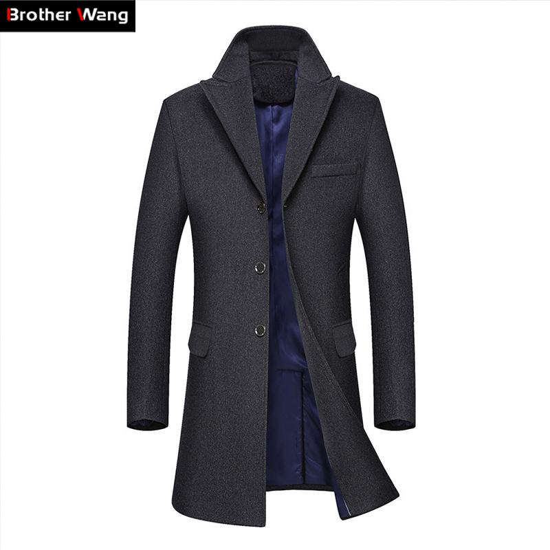 Brother Wang Brand 2018 Autumn Winter New Men's Long Trench Coat Fashion Business Casual Wool Slim Woolen Coat Jacket Male