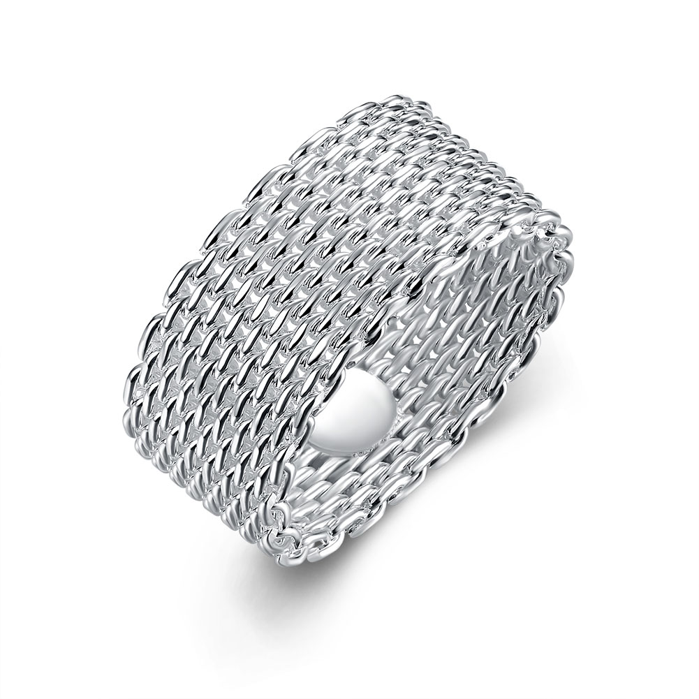 Free Shipping Wholesale Silver-plated Weave Ring,Fine Fashion Jewelry,Soft Net Ring Men Women Gift Silver Jewelry Finger Rings