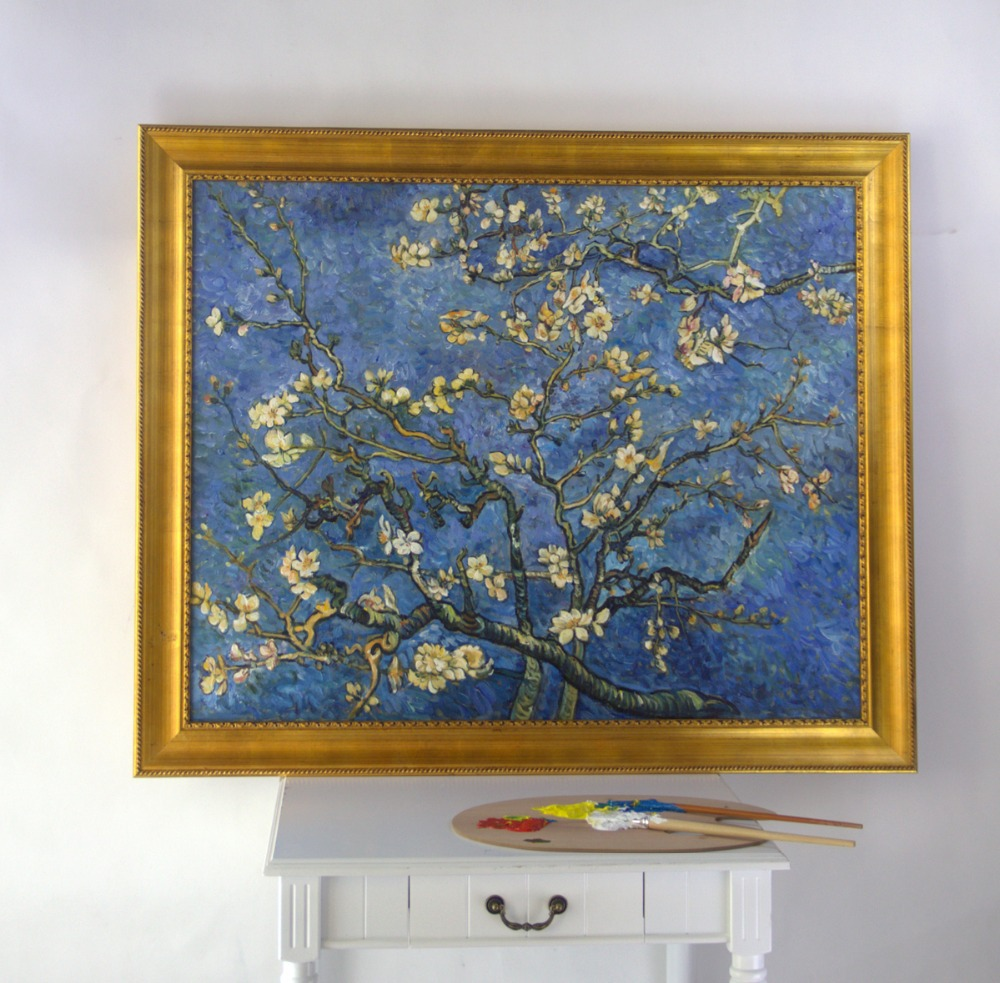 Framed oil paintings handmade reproduction branches with for Framed reproduction oil paintings