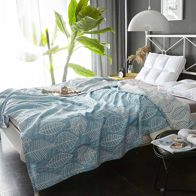 iDouillet Leaves Pattern Lightweight Summer Thin Blanket Throw for Bed Couch 3 Layers Muslin Cotton 150x200cm