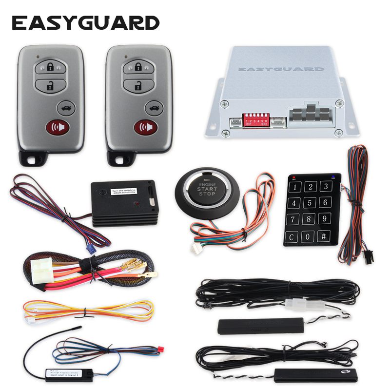 EASYGUARD PKE car alarm Rolling code remote engine start keyless go system touch password entry vibration