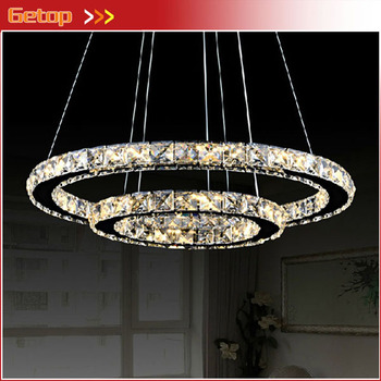 Modern Crystal Lamp Minimalist Restaurant Living Room Circular LED Chandelier Creative Round Crystal Light Decorative Lighting
