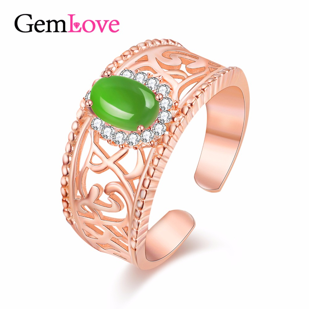 Gemlove 05ct Jasper Gemstone Women Rings 925 Sterling Silver Rose Gold  Plated Party Engagement Ring Ringen Fine Jewelry Cj017