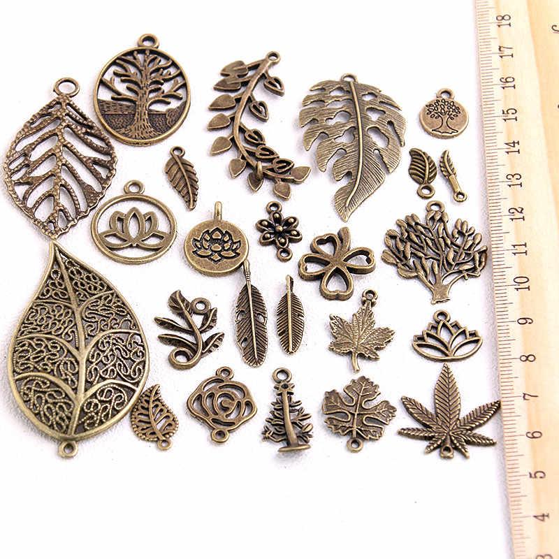 20 個ヴィンテージ金属ミックスサイズ/スタイル葉の花チャーム植物ペンダントジュエリー作成 Diy のため手作りジュエリー