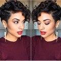 Cabelo Virgem indiano Perucas Perruque Cheveux Humain Short Cut Máquina Feita nenhum Lace Wigs para As Mulheres Negras Onda Tecer Cabelo Humano Curta