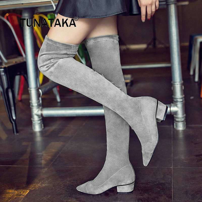Lady Suede Comfortable Square Heel With Side Zipper Over The Knee Boots Warm Winter Pointed Toe Elastic Boots Black Gray women suede slip on over the knee boots fashion winter rivet comfortable square heel elastic boots black gray dark gray