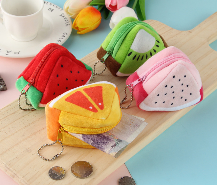 Girls Small Pocket Coin Pouch Shrink-Proof 9cm Approx Novelty 4fruits Little Plush Fruit Coin Bag Purse ; Kid