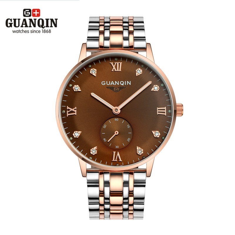 ФОТО New GUANQIN Men Business Watches Automatic Mechanical Watch Rhinestone Luminous Dial Water Resistant Mens Wristwatches Masculino