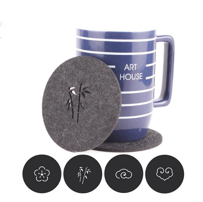 300pcs new Felt Coaster Cup mats Cartoon Pad fabric Cup Mug Mat Coffee Tea Holder Home Decor SN1370