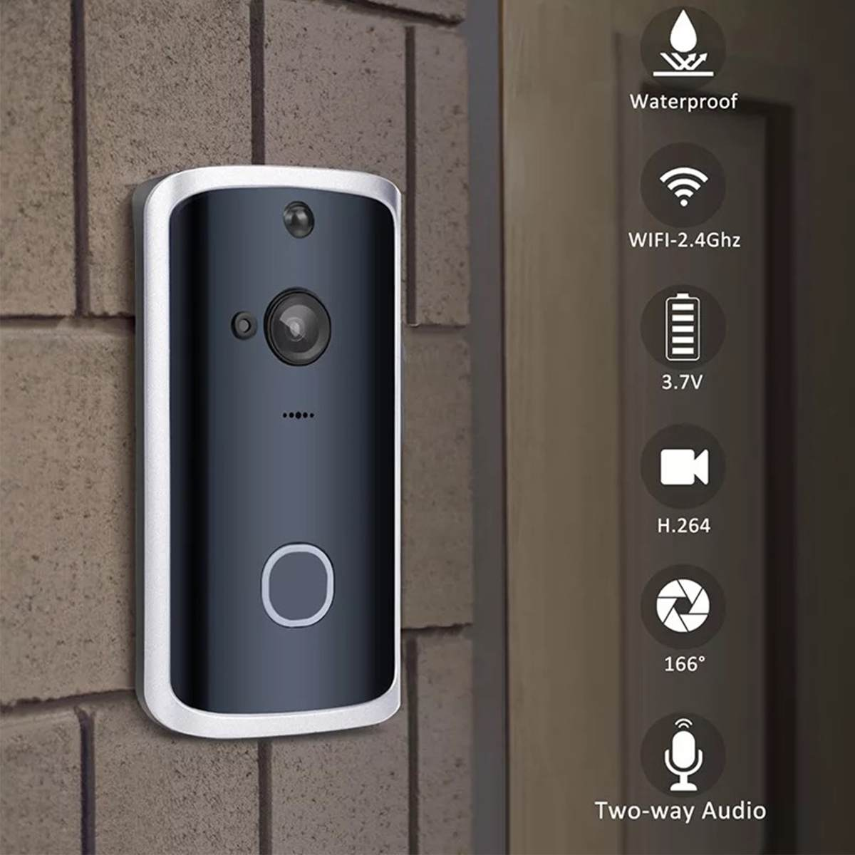 Smart 2 Way Wireless Doorbell WiFi Video Doorbell Camera Intercom APP Phone Record Picture Video Home Visual Security Door Bell