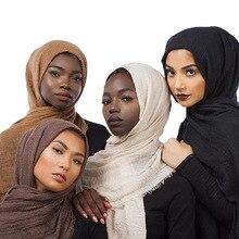 2019 mode Frauen Muslimischen Schal Baumwolle Hijab Plain Weiche Schals Schals Solide Kopf Wrap Muslimischen Kopf Schal Hijab Schalldämpfer