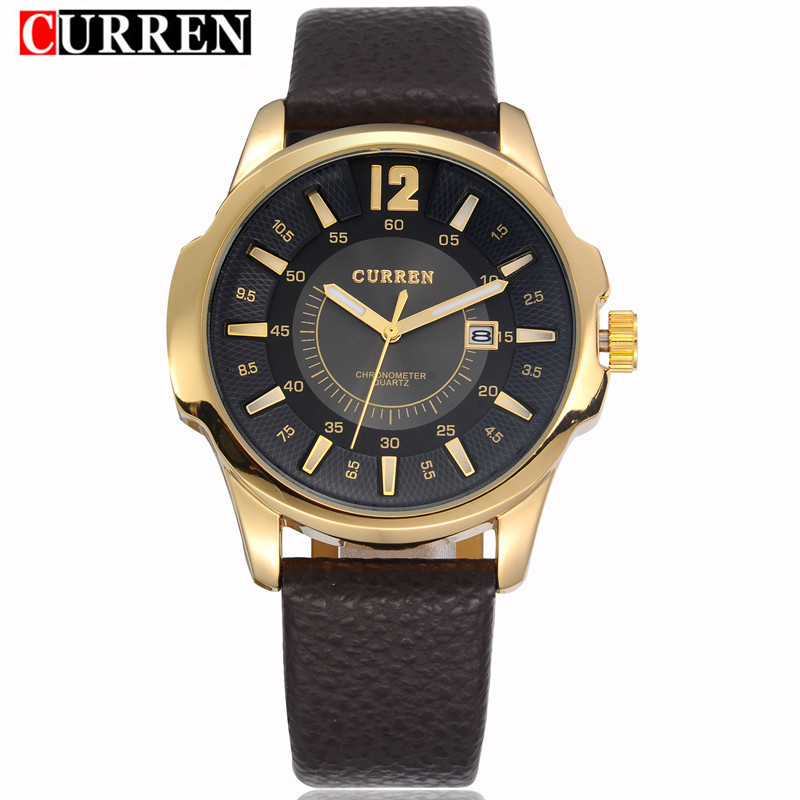New Curren Watch Mens Watches Top Brand Luxury Gold Quartz Men Wrist Watch Waterproof Leather Male Sport Clock Relogio Masculino fashion male watches men top famous brand gold wrist watch leather band quartz casual big dial clock relogio masculino hodinky36