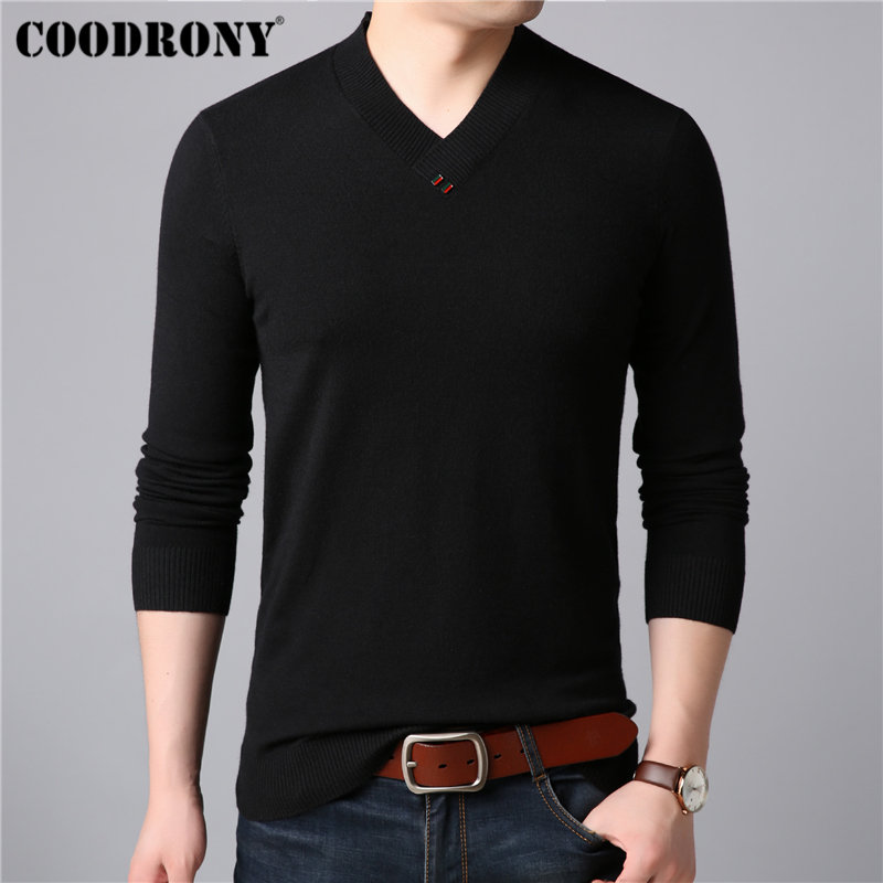 COODRONY Mens Sweaters 2019 New Arrivals Cashmere Cotton Sweater Men Knitwear Pull Homme Casual Button V-Neck Pullover Men 91004