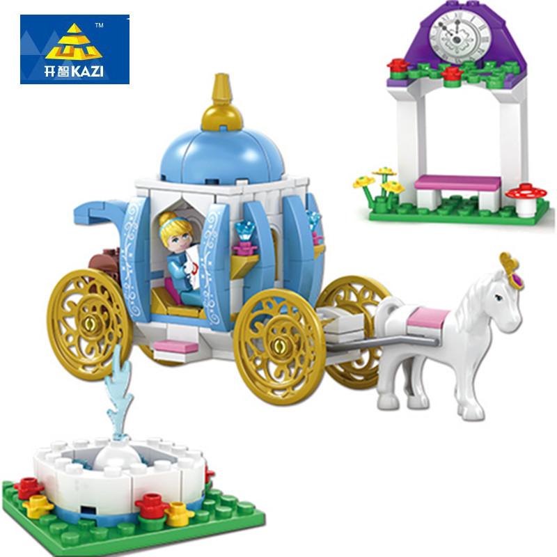 KAZI New Blocks Assembly Model Blocks Cinderella s Dream Girl Series Building Blocks Playmobil Brick For