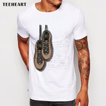 Teeheart Men T Shirts Funny vintage shose on chest Design Short Sleeve Casual Tops Hipster T-Shirt Cool Tee La758(China)